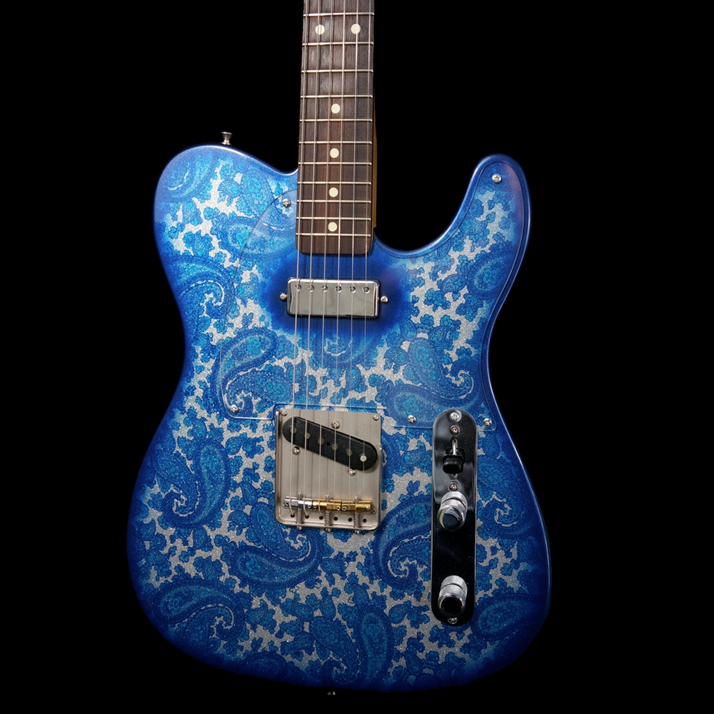 Crook Blue Sparkle Paisley T Rebel Guitars
