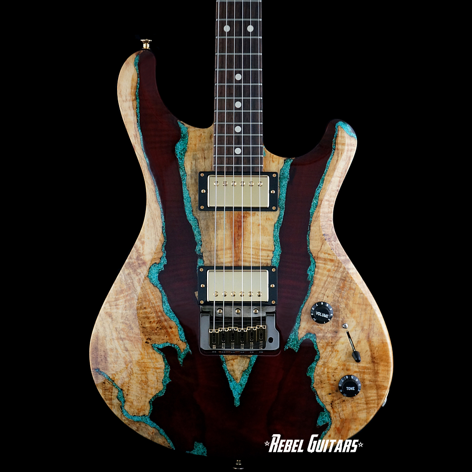knaggs guitars tier 3 severn trembuck spalted maple with turquoise inlays rebel guitars. Black Bedroom Furniture Sets. Home Design Ideas
